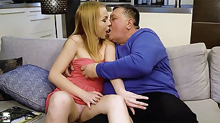 Filthy young doll Rebecca Black hooks almost with ugly old fart