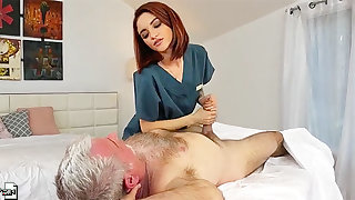 Yummy red haired masseuse Lola Fae gets intimate with age-old client