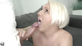 Adult flaxen-haired MILF Bibi Pink gets their way face splattered with cum