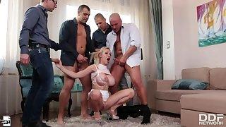 Busty Blonde Babe Enjoys Multidick Sucking